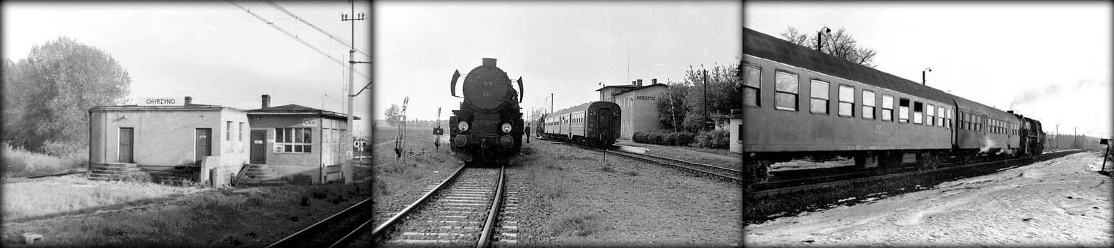 Po lewej jedyne zdjęcie stacji Chyrzyno, łączące Kolej od strony Rudnicy z koleją główną Kostrzyn - Zielona Góra. Po środku stacja Krzeszyce w maju 1986 roku, po prawej Płonica - Bolemin i pociąg w kierunku Rudnicy.
