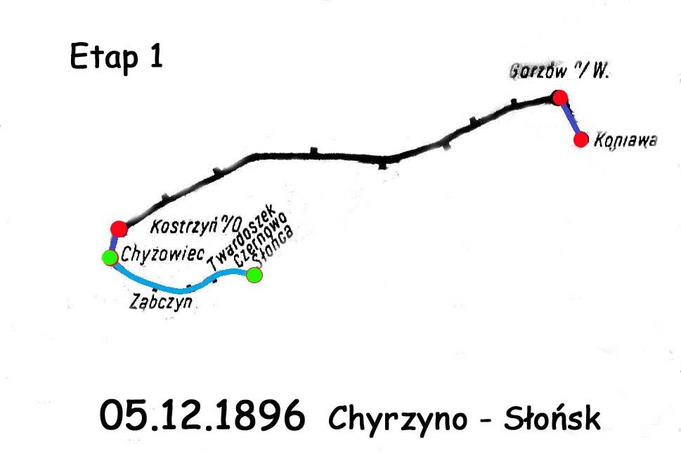 Etapy zmiany na linii Chyrzyno (relacje ze stacji Kostrzyn/O) - Rudnica. Pierwszy etap mówi O wybudowaniu odcinka kolei prywatnej z Chyrzyna do Słońska. Dalszy odcinek do Krzeszyc wybudowano w 1906 roku. W Słońsku i Krzeszycach, z uwagi na stacje końcowe (jak się okazało przejściowo) były małe parowozownie.