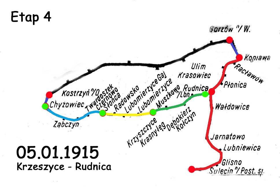 Etapy zmiany na linii Chyrzyno (relacje ze stacji Kostrzyn/O) - Rudnica. Czwarty etap mówi już o jej ostatecznym kształcie, to jest połączeniem kolei państwowej i prywatnej w Rudnicy i likwidacją w 1945 trasą do Sulęcina.