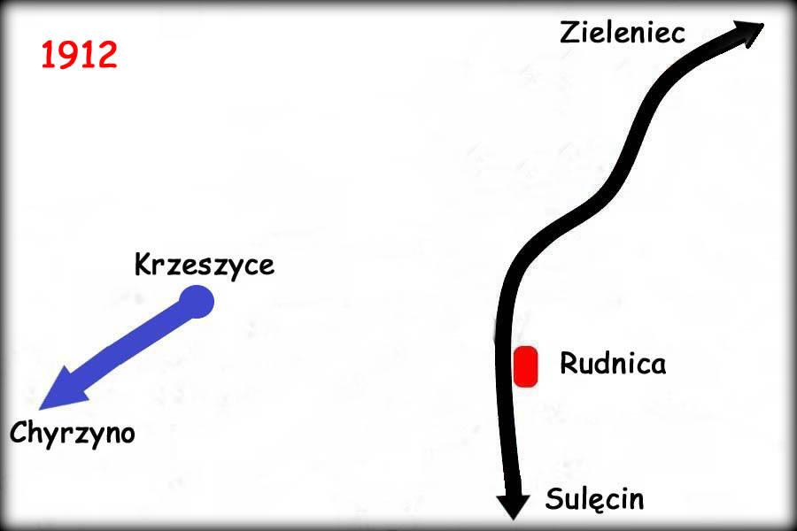 Etap budowy z 1912 roku, gdy linia Zieleniec - Rudnica już istniała (oddana w 1920) a tor kolei prywatnej dochodził tylko do Krzeszyc - wybudowany ze Słońska w 1906 roku