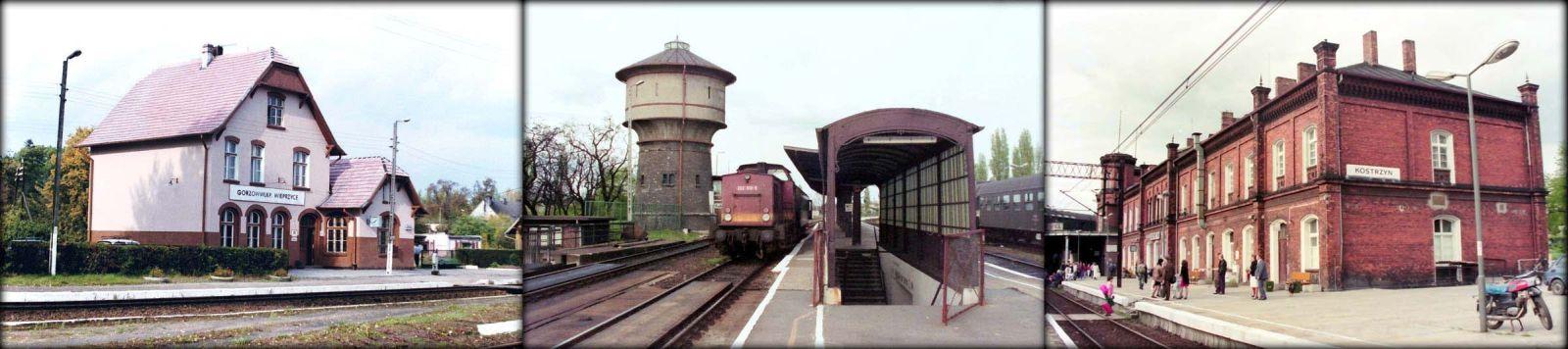Gorzów Wlkp. Wieprzyce w dniu 05.10.1990. Kostrzyn/O w dniu 03.05.1992 roku. Po środku pociąg służbowy do Kietz z lokomotywą 202 519-5.