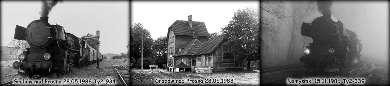 Ty2-934 z ostatnim pociągiem osobowym na trasie Ostrzeszów - Namysłaki w dniu 28.05.1988. Grabów nad Prosną w dniu 28.05.1988. Ty2-339 w Namysłakach, podczas objazdu pociągu specjalnego 15.11.1986 roku.