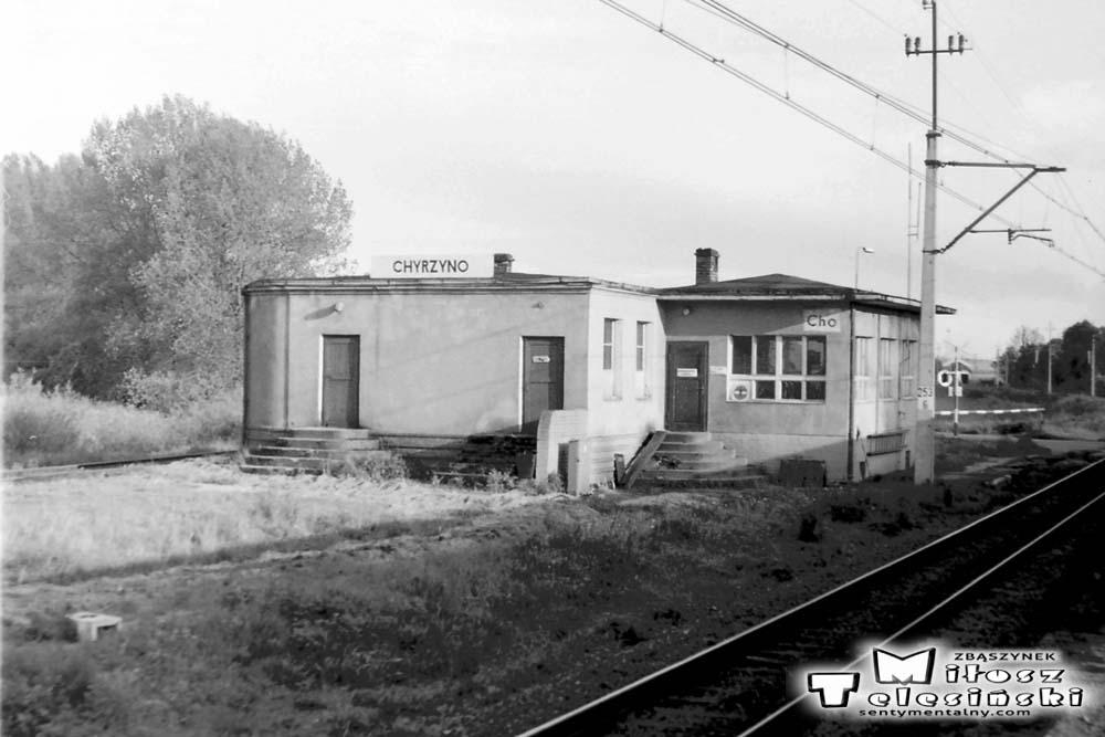 Chyrzyno 24.05.1991. Jedyne zachowane zdjęcie od strony Kostrzyna/O. Miejsce od którego w kierunku zachodnim oddalał się tor w kierunku stacji Rudnica. Do lat 60 tych., był tu mały peron, pozwalający na przesiadki pomiędzy pociągami relacji Kostrzyn - Rzepin, a tymi w stronę Rudnicy (Gorzowa Zieleniec).