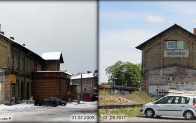 Widok peronów w Międzyrzeczu 21.02.2009 i 20.05.2017.