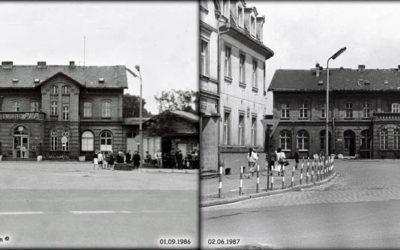 Widok dworca w Międzyrzeczu 01.09.1986 i 02.06.1987