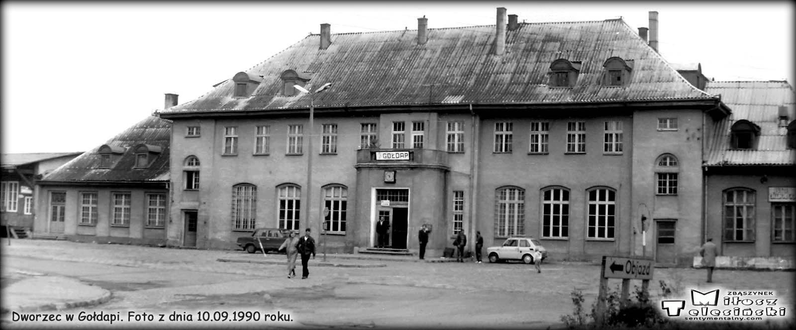 Dworzec w Gołdapi. Foto z dnia 10.09.1990 roku.