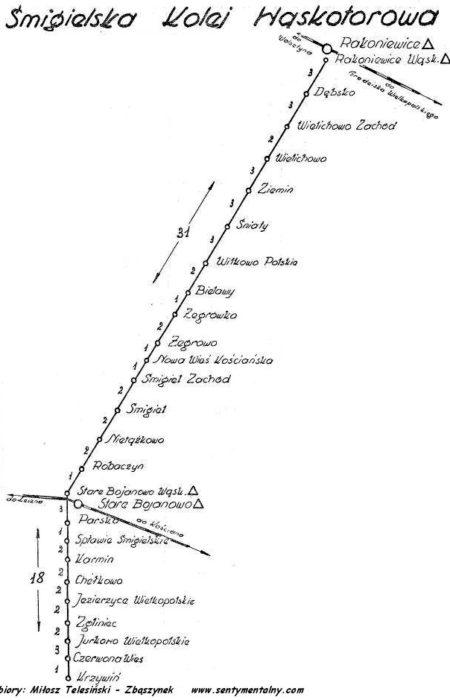 Plan kolejki z 1959 roku