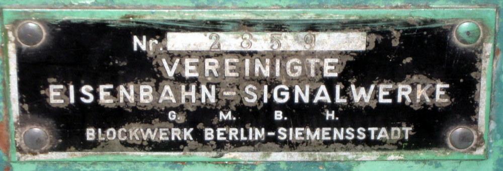 Tabliczka z urządzeń nastawczych Z.R.K., jakimi wyposażone były wszystkie nastawnie w Neu Bentschen.