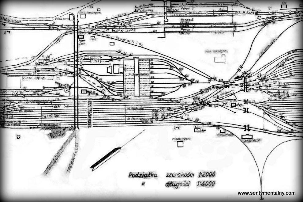 Fragment planu Zbąszynka z lokomotywownią z 1941 roku.