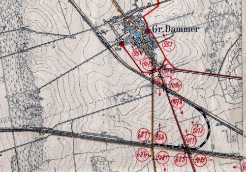 mapka z 1902 roku, którą wykorzystano jako podstawę do naniesienia sytuacji tymczasowych połączeń w latach 1920 – 30.
