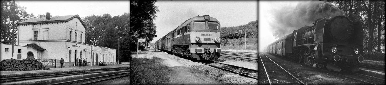 Od lewej: Dworzec w 1986 roku. W środku 1990. Po prawej Pt47-10 z Krzyża do Gorzowa Wlkp.