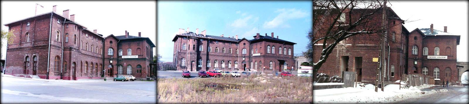 Porównanie dworca od zajazdu. po prawej z dnia 11.04.1991. Środkowy i po lewej 19.01.1992.