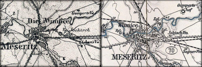 Mapka przedstawiająca porównanie kolei w Międzyrzeczu - torów w latach 1893 - 98. Nie wszystkie były jeszcze czynne. Nie było jeszcze kierunku do Toporowa i Skwierzyny (Gorzowa Wlkp.).
