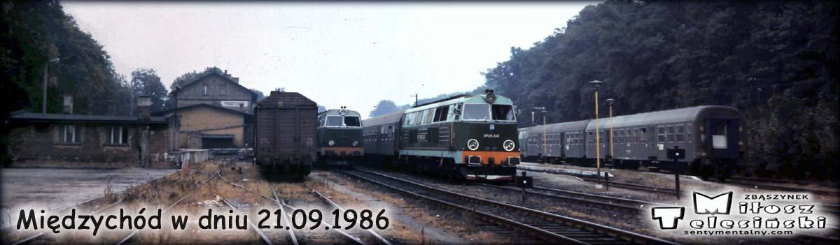 Międzychód w dniu 21.09.1986 r. Po lewej SP45-075, po prawej SP45-246 z osobowym do Międzyrzecz.a