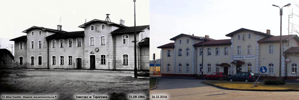 Dworzec w Toporowie w 1986 i 2016 – porównanie po 30 latach.