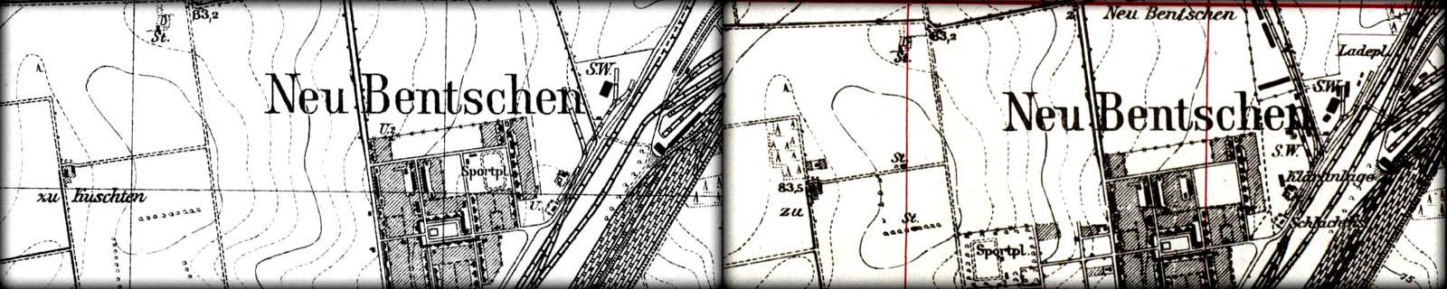 """Mapka z 1929 roku obrazuje nam sytuację w chwili wstrzymania nakładów finansowych na budowę nowego osiedla i drastycznego ograniczenia inwestycji założonych w pierwotnym projekcie. Warto zauważyć że tory na dworcu towarowym kończą się w połowie, pozostawiając nową górkę rozrządową i górną grupę torów w """"zawieszeniu"""". Po prawej mapka z 1944 roku ukazuje miasto (osiedle) w postaci """"końcowej"""". Różni się w stosunku do mapki obok przeniesieniem boiska w inne miejsce, na zachód od głównej ulicy, którą zaczęto uzupełniać planowanymi obiektami, które w większości miały służyć miejscowej ludności, w odróżnieniu od wschodniej strony osiedla, gdzie kwaterowano pracujących na węźle pmieszkańców Zbąszynka."""