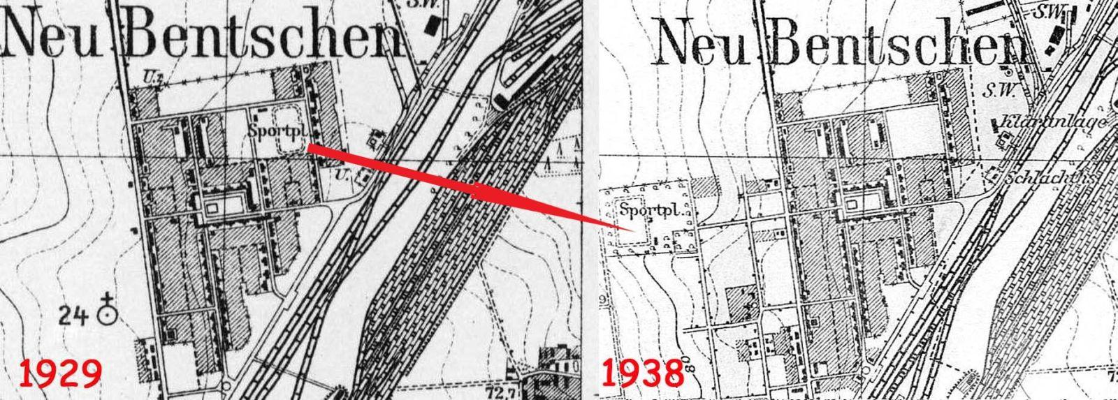Porównaie sytuacji w latach 1929 - 30. Chodzi głównie o przeniesienie boiska znajdującego się przy ulicy Zbąszyńskiej w miejsce docelowe. Było to w 1930 roku, gdy część zachodnia osiedla była już częściowo zagospodarowana i oddana do użytku.