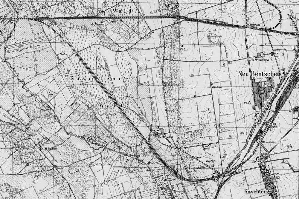 Mapka z 1929 roku. Tymczasowe połączenie z kierunku międzyrzecza poprzez stację kosieczyn, jeszcze spałnia swoją 7 letnią rolę.