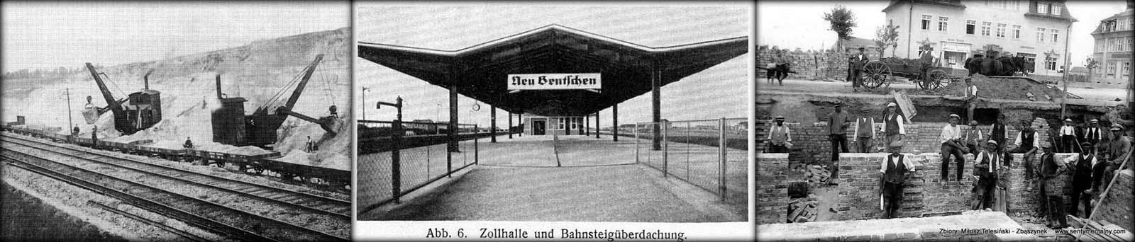 Od lewej: Budowa torowiska w stronę Rzepina tuż za Zbąszynkiem. Widok peronu celnego. Przejścia podziemne uruchomiono dopiero w 1944 roku. Budowa ostatniego etapu budynku stacyjnego w 1930 roku.