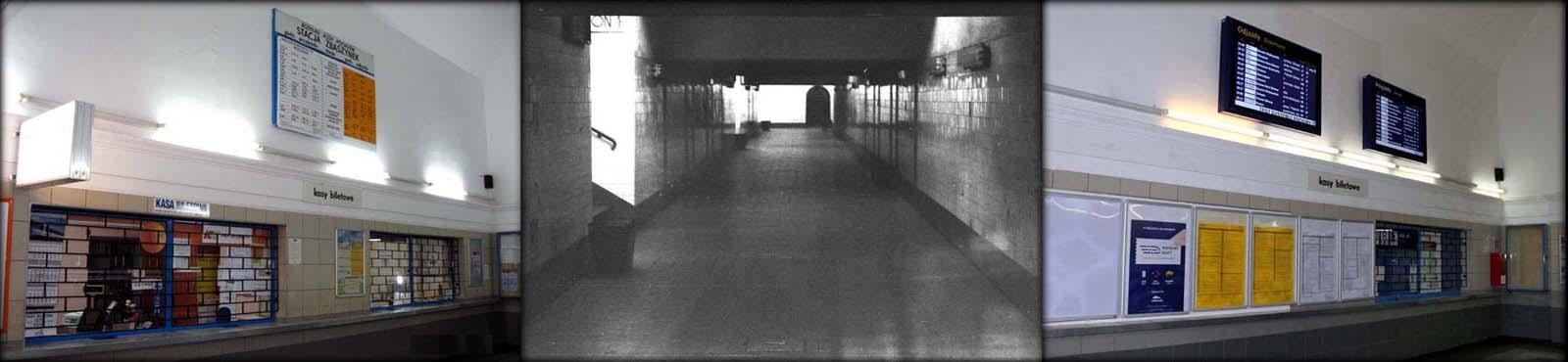 Od lewej: Poczekalnia w 2009, przejście podziemnie w 1986, poczekalnia w 2019 roku.